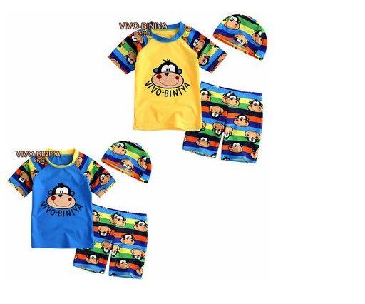 Maillot de bain design charmant 2 ~ 6 ans enfant maillot de bain bébé maillot de bain enfants garçon maillot de bain + chapeau