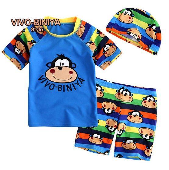 사랑스러운 디자인 수영복 2 ~ 6 세 어린이 수영복 아기 수영복 키즈 소년 2 개 세트 수영복 + 모자