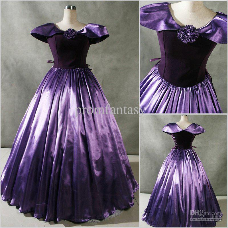 Vintage Purple Gothic Ball Gown Wedding Dresses With Cloak: 2017 Custom Made New Patrician Purple Cap Sleeves Gothic
