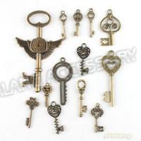 weinlesecharme groihandel-148pcs / lot auf Verkauf neue sortierte Schlüsselcharme-Legierungs-überzogene Weinlese-Bronzen-Anhänger-passende Schmucksachen DIY ZH-BJI004