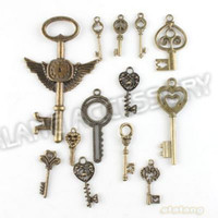 Wholesale Bronze Cross Pendants - 148pcs lot On Sale New Assorted Key Charms Alloy Plated Vintage Bronze Pendant Fit Jewelry DIY ZH-BJI004