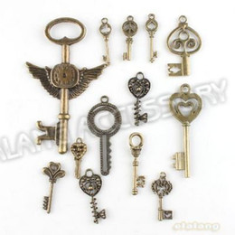 Wholesale Crossing Keys - 148pcs lot On Sale New Assorted Key Charms Alloy Plated Vintage Bronze Pendant Fit Jewelry DIY ZH-BJI004