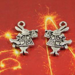 Wholesale Wholesale Loose Bohemian Jewelry - 15*20mm 50pcs alloy antique silver Cute Rabbit charms,DIY Antique silver Metal jewelry loose beads