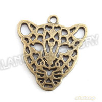 60pcs Promotion / lot creux en alliage Tiger Head Charms Antique Bronze Pendentif Plaqué Fit Artesanat Makin