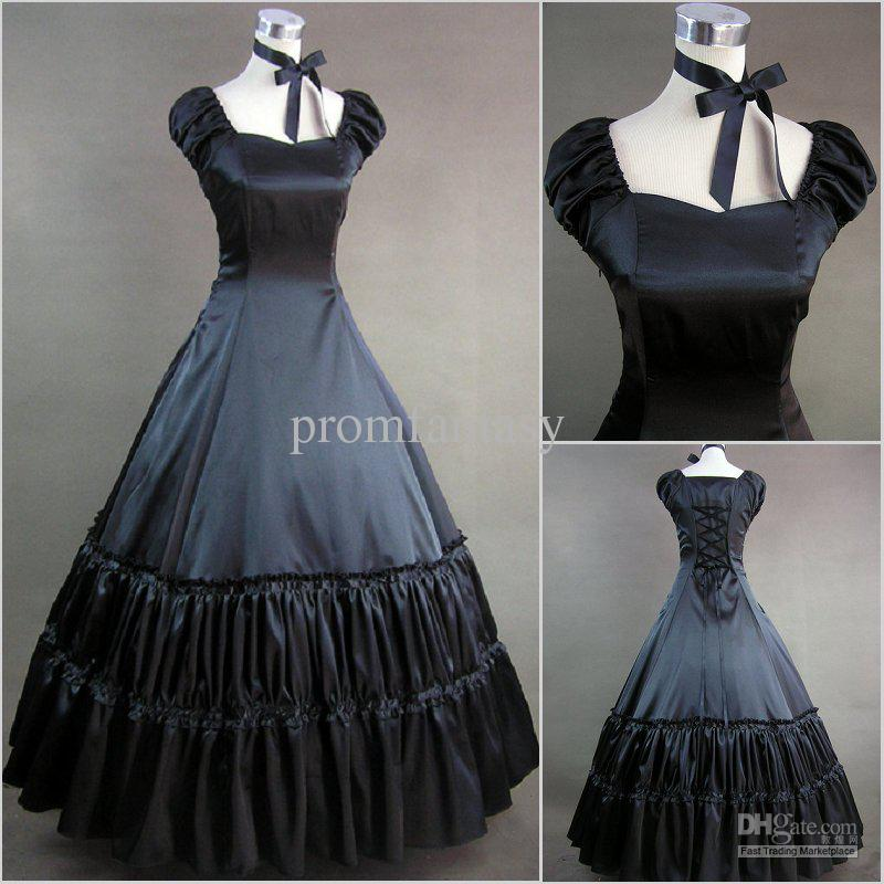 2017 Cheap Two Piece Vintage Black Gothic Victorian Lolita Ball Gown Wedding Dresses With Neck Wear