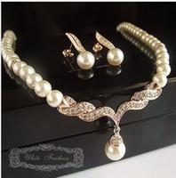 Wholesale Wonderful Earrings - wonderful bridal weddng pearl gold necklace earings set free shipping