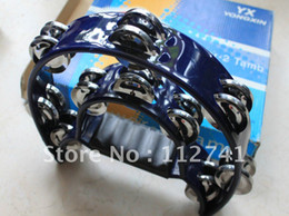 Wholesale - DOUBLE HALF MOON TAMBOURINE percussion tamborine drum blue TW-20(red yellow blue)