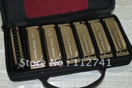 harmonium Rabatt Großhandel - Meistverkaufte 10hole 20tone 7-Set-Packung-Mundharmonika-Geschenkbeutel