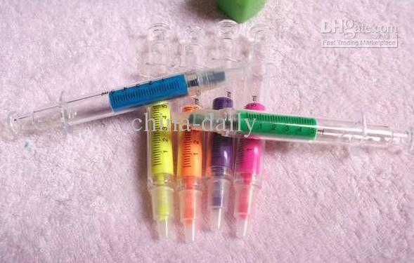 Freeship 60 stks 6 kleuren markeerstift pen lichtgevende ziekenhuis medische verpleegster spuit pennen geassorteerde kleuren