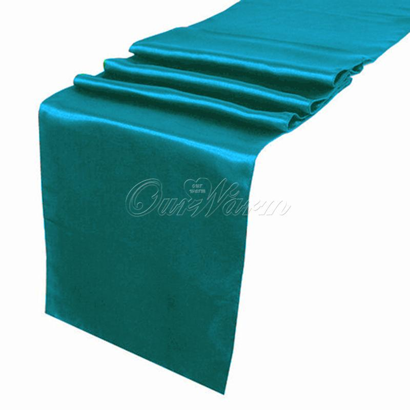 Elegant Teal Blue Satin Table Runner Wedding Cloth Runners Holiday Favor Party Run  Tbu Black And White Table Runner Black And White Table Runners From ...