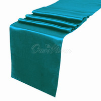 Wholesale Teal Wedding Tables - 10pcs lot Teal Blue Satin Table Runner Wedding Cloth Runners Holiday Favor Party -RUN-TBU