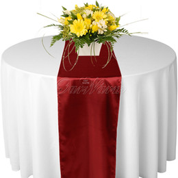 Wholesale Dark Red Table Runners Wedding - 100 Dark Red Satin Table Runner Wedding Cloth Runners Holiday Favor Party New -RUN