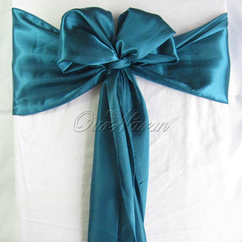 100 teal blue satin chair sash wedding party supply hot