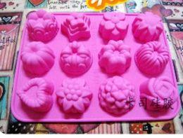 Fiori di caramella online-Fetta di muffin al cioccolato 12 buche Torta di gelato Candy Ice Vassoio di stampo Stampo di cavità Fiore / Stella