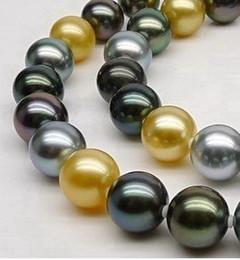 Auténticas perlas negras de tahiti online-auténtico impresionante 10-11mm TAHITIAN NEGRO VERDE ORO COLLAR PERLA 18 pulgadas 14K