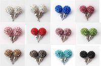 Wholesale Macrame Earrings - shamballa earring stud Whose Sell 10MM Disco Ball Macrame Crystal Stud Earring Top Quality dull silver