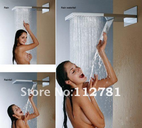 best selling Wall Mounted Shower Head With Dual Rain And Waterfall Functions 55X23 CM Stainless Steel 304 Brushed