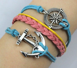 Wholesale Anchor Bracelet Velvet - 20% OFF!Ancient silver compass anchor hand-knitted velvet rope multilayer bracelet!8pcs lot