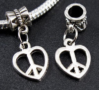 Wholesale Dangle Peace - 65pcs Tibetan Silver Heart Peace Sign Dangle Beads Fit Charms Bracelet 25*12mm (00817)