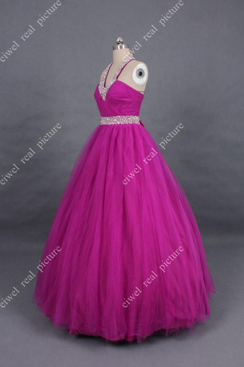 Beaded Halter Quinceanera Dresses Ankle Length Ball Gown Lace-up Back Girls Birthday Party Gowns