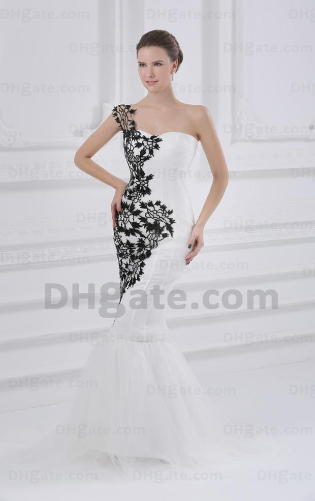 Black and white mermaid wedding dresses one shoulder sheer for Black mermaid wedding dresses