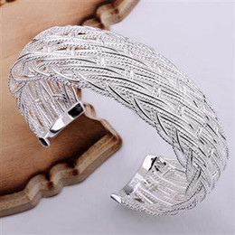 Wholesale Sterling Silver Cuff Bracelets Wholesale - FREE SHIPPING Min.order $15 new 925 sterling silver bracelet bangle B139