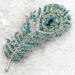 Wholesale White Peacock Feathers Wedding - 12pcs lot Wholesale Crystal Rhinestone Peacock Feather Pin Brooch Wedding Party Jewelry gift C384