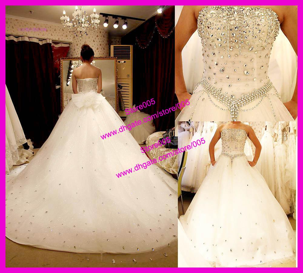 Real Strapless Ball Gown Tulle Diamond Bridal Wedding