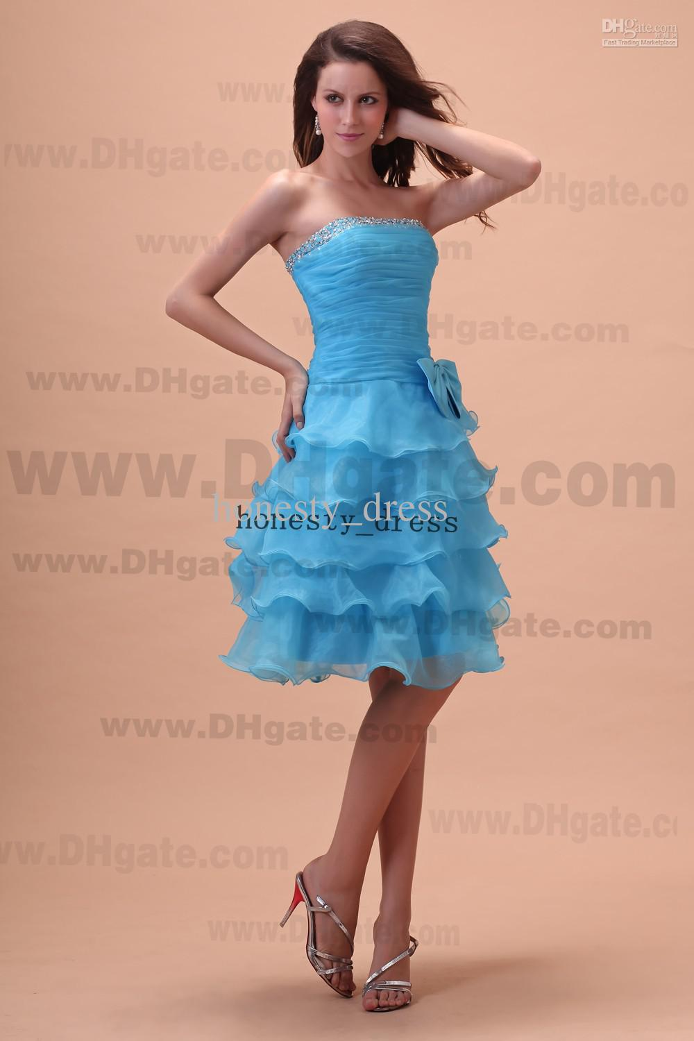 Sassy light blue a line organza junior bridesmaid dress strapless sassy light blue a line organza junior bridesmaid dress strapless knee length beaded sequin tiered the honor of bridemaids gowns cheap occasion dresses ombrellifo Image collections