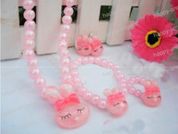 Wholesale Bracelet Ring Combination - Girl's Jewelry 4 pieces combination Sweet Necklace+Bracelet+Earring+Ring jewelry set pearl Acrylic beaded bauble 800 pcs PTB-F05