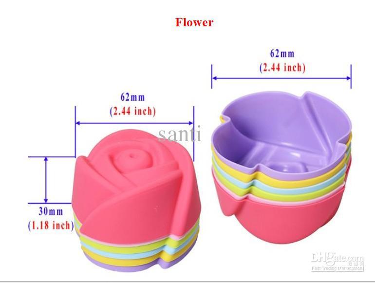 5 가지의 주석 선 라이닝 베이킹 컵 금형 금형 푸딩 컵 실리콘 케이크 머핀 초콜릿 컵케익 케이스