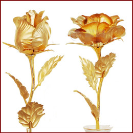 Wholesale stemmed roses - Free Shipping Elegant Golden Rose with Gold-Plated Stem for Mothers Day Gift and Valentine's Gift