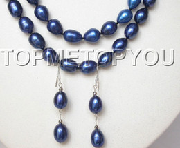 "Wholesale Buy Blue Necklace - best buy fine pearl jewelry 22""-23"" 2rows Genuine navy blue black pearls necklace Earrings 925ss SET"