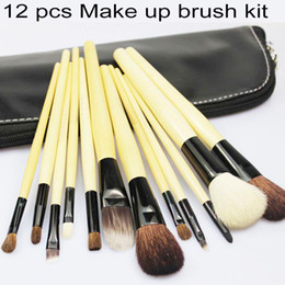 Wholesale Goat Handling - Brand Professional 12Pcs Make Up Cosmetic Brush Set Kit Makeup Brushes Wood Handle+Goat Hair+Leather Case Free Shipping