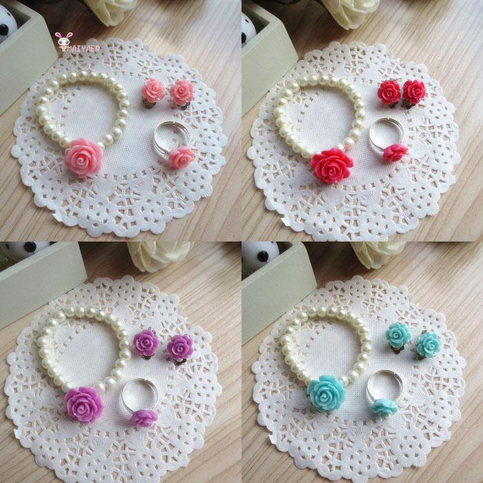 Children Jewelry Sets For Girls Flowers Imitation Pearl Bracelets Ring Ear Clips 24Set/Lot Free Shipping