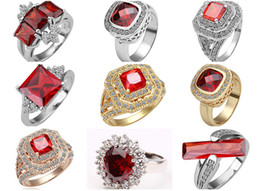 Wholesale Gold Overlay Rings - Mixed Multi Styles Ruby Red Bloody Crystal Solitaire Setting 18K Gold White Gold Overlay Rings FR118