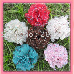 chiffon mesh flowers wholesale Canada - Free shipping!24pcs lot 3 inch New chiffon and mesh fabric flowers brooch flower 6 colors for your choice