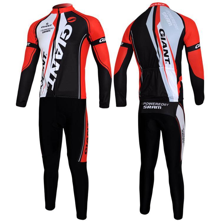 Bicicletta Giant Red Outdoor Sports maniche lunghe Jersey + pantaloni bavaglino Bike Cycling Taglia M- XXXL