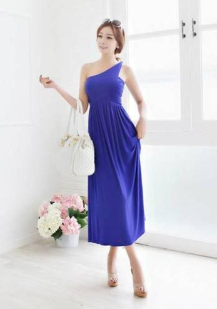 Großhandel Frauen Kleider Damen Ein Schulter Asymmetrische Kleid ...