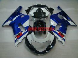 gsxr k1 blau weiß Rabatt Blauweiß Verkleidungskörper-Kit Für 2001 2002 2003 SUZUKI GSXR 600 750 Karosserie GSXR600 GSXR750 K1 01 02 03 Verkleidungssatz