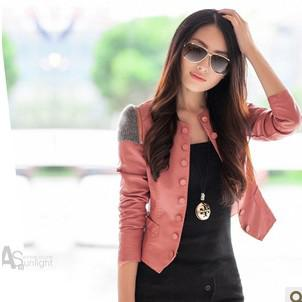 top popular NEW Autumn Winter Woman's Short PU Leather Jacket Round Neck Slim Fit coat Fashion Women Tops Short OUTERWEAR Free shipping 2020