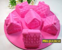 ingrosso casa di stampo-6 house hut Stampo per torta in silicone muffin cupcake cake cookie stampo per muffin al cioccolato