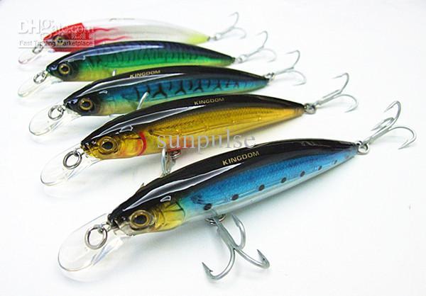 Nuove esche minnow di plastica Lontano lancio mare / laghi esche da pesca gancio VMC 12cm / 26g cinque colori