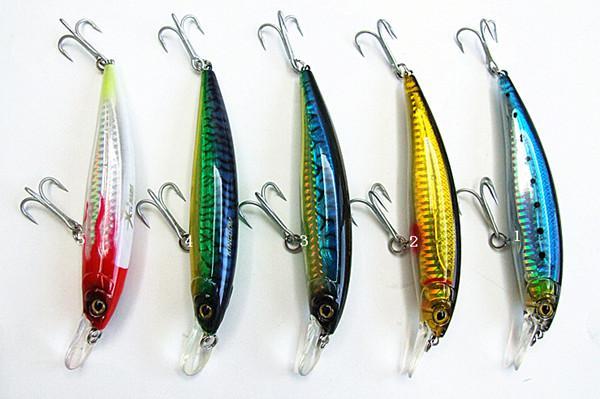 New minnow baits plastic hard Far throwing sea/lakes fishing lures VMC hook 12cm/26g five colors