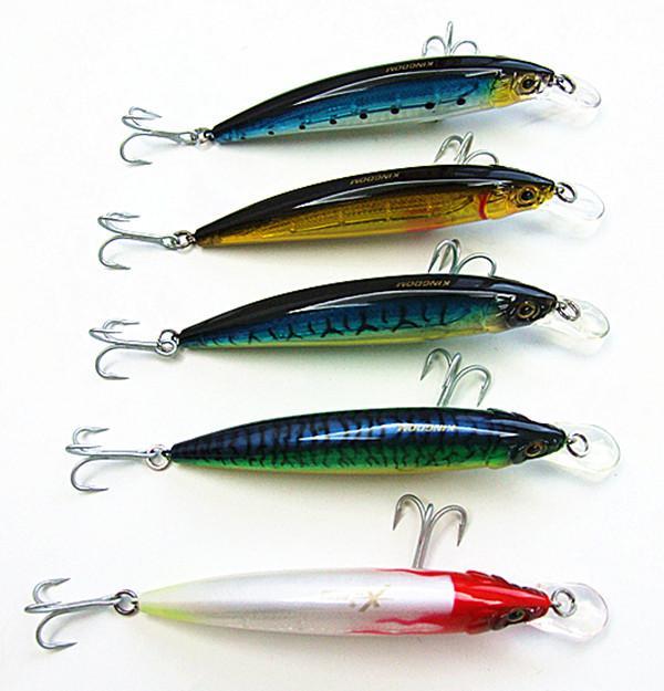 새로운 미노우 baits 플라스틱 하드 먼 던져 바다 / 호수 낚시 미끼 VMC 후크 12cm / 26g 5 색