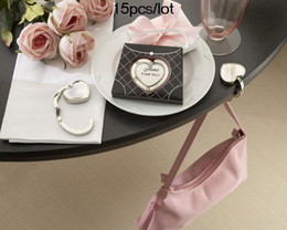 Wholesale Purse Valets - Wedding Gifts Heart Purse Valet Compact Stainless Steel Handbag Holder 15pcs lot Free shipping