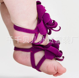 Wholesale Baby Flower Tie Shoes - Wholesale -BABY Sandals baby Barefoot Sandals Foot Flower Foot Ties girls Toddler flower Shoes 20p l