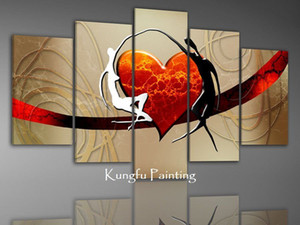 hand-painted 100 love oil painting on canvas abstract canvas art for living room bedroom 5 panel Kungfu Art