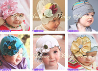 Wholesale Girl Flower Crochet Top - Wholesale - Top Baby Cotton Baby Beanie Hat Flowers Hat Baby Toddler's Hats Girls' or Boy's Hat Caps