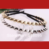 Wholesale Studded Headband Wholesale - 12pcs Lots 2 Colors Mixed Punk Rock Spike Rivets hair band Studded Party Headband Hairwrap Promotion